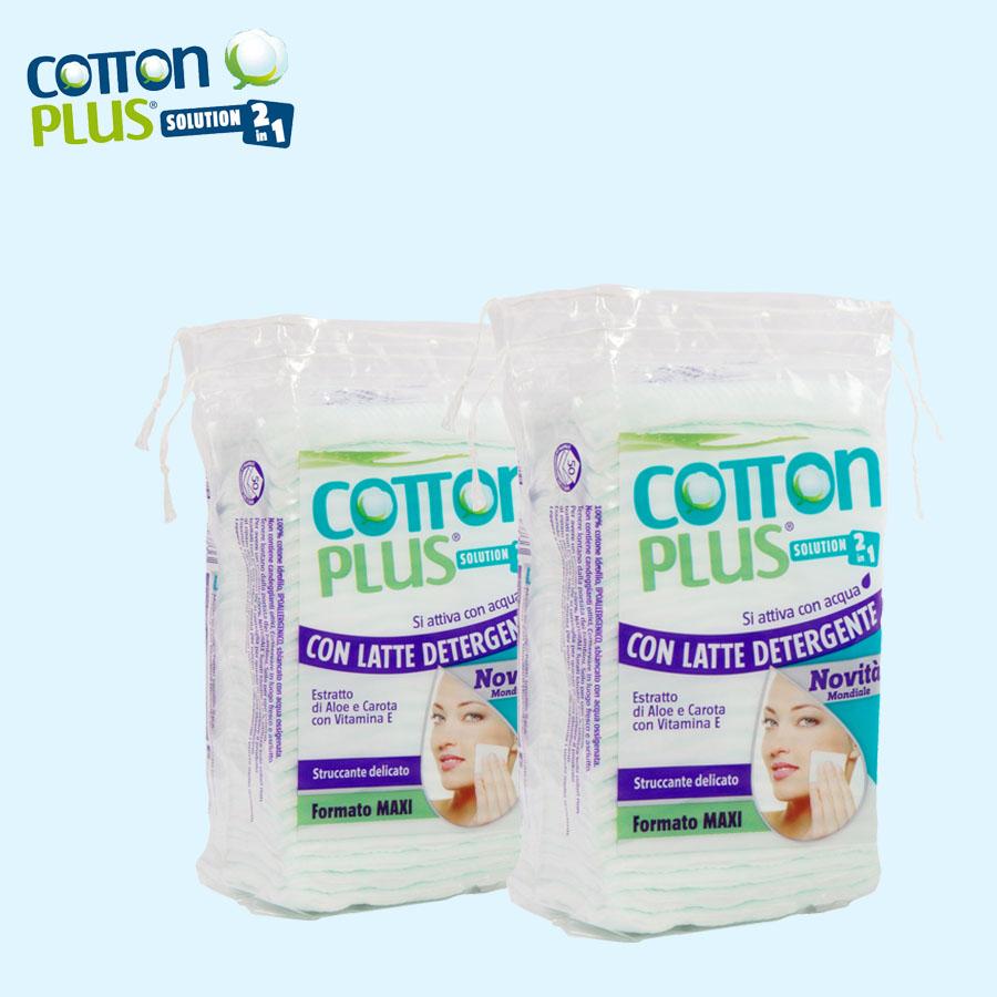 Bông tẩy trang cao cấp Cotton Plus 2 trong 1 ( Chiết xuất Lô hội- Carrot và Vitamin E)